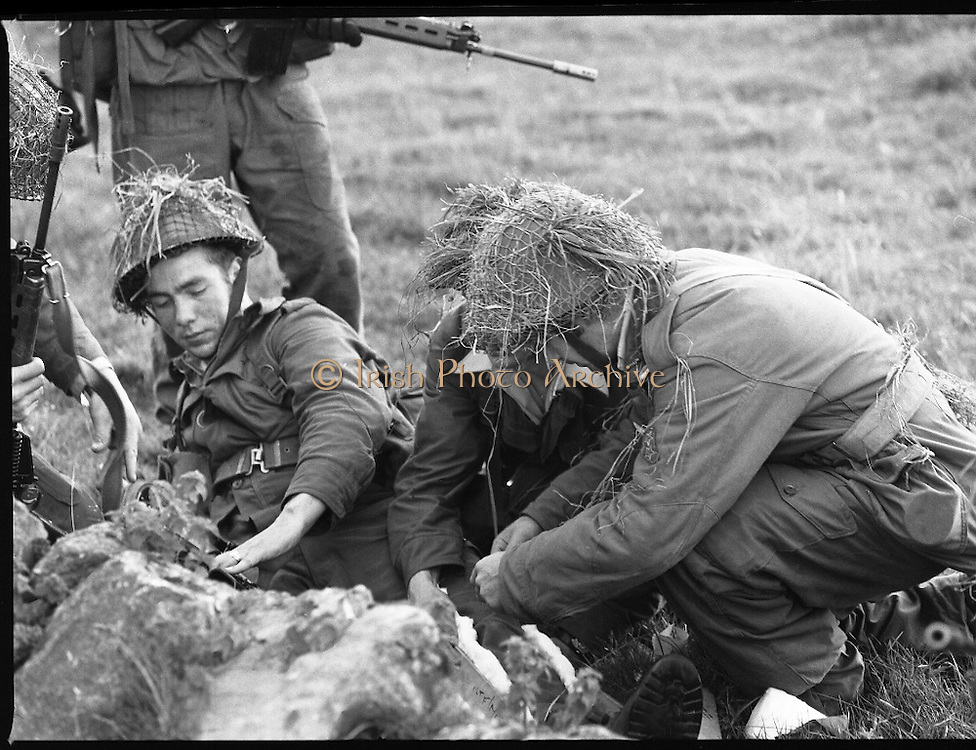 """Army Exercises In Co Sligo.   (L37).<br /> 1977.<br /> 05.09.1977.<br /> 09.05.1977.<br /> 5th September 1977.<br /> The Army Reserve Brigade, which is made up of regular units from the Southern Command, are conducting a series of conventional military exercises in counties Mayo and Sligo from the 5th to the 9th September. Approximately 1,500 men and 250 vehicles are involved. The exercise was codenamed """"Humbert"""" after an ill fated expedition by French troops into Ireland on 23rd August 1798. 1,100 French troops with Irish support took on the incumbent English forces. After some initial success they were defeated at Ballinamuk on 8th Sept 1798 by the army of Cornwallis."""