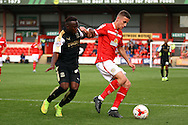 Ryan Colclough of Crewe Alexandra holds off Drissa Traore of Swindon Town. Skybet football league 1 match, Crewe Alexandra v Swindon Town at The Alexandra Stadium in Crewe, Cheshire on Saturday 5th September 2015.<br /> pic by Chris Stading, Andrew Orchard sports photography.