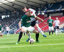 Hibernian's Jordan Forester and Falkirk's Luke Leahy. <br /> Hibernian 0 v 1 Falkirk, William Hill Scottish Cup semi-final, played 18/4/2015 at Hamden Park, Glasgow.