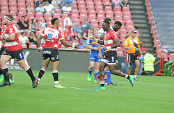 070418 Emirates Airlines Park, Ellis Park, Johannesburg, South Africa. Super Rugby. Lions vs Stormers. Elton Jantjies congratulates man of the match Madosh Tambwe on one of four tries. <br />Picture: Karen Sandison/African News Agency (ANA)
