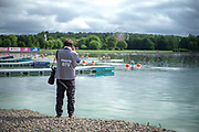 Glasgow, Scotland, Friday, 3rd  August 2018, Media at Work, Photographer working at the start, European Games, Rowing, Strathclyde Park, North Lanarkshire, © Peter SPURRIER/Alamy Live News