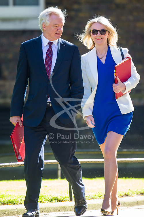 Secretary of State for Exiting the European Union David Davis and Chief Secretary to the Treasury Elizabeth Truss arrive at 10 Downing Street to attend the weekly cabinet meeting.