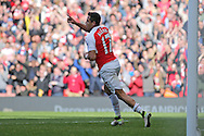 Alexis Sanchez of Arsenal celebrates after scoring his teams 1st goal to make it 1-0. Barclays Premier league match, Arsenal v Crystal Palace at the Emirates Stadium in London on Sunday 17th April 2016.<br /> pic by John Patrick Fletcher, Andrew Orchard sports photography.