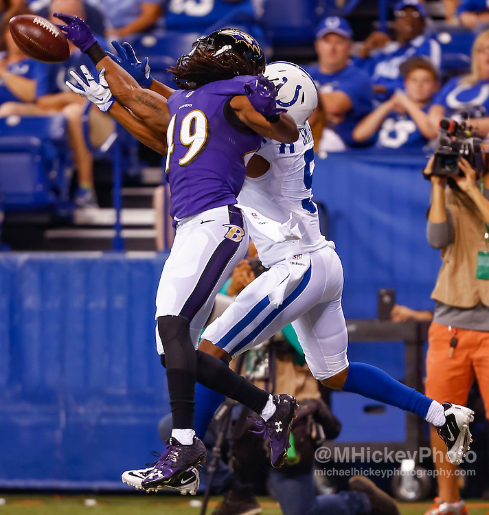 INDIANAPOLIS, IN - AUGUST 20: Maurice Canady #49 of the Baltimore Ravens defends the pass attempt to Tevaun Smith #5 of the Indianapolis Colts at Lucas Oil Stadium on August 20, 2016 in Indianapolis, Indiana.  (Photo by Michael Hickey/Getty Images) *** Local Caption *** Maurice Canady; Tevaun Smith