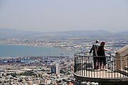 Israel, Haifa, Panorama view point on the Carmel Mountain, a view of the city and the bay