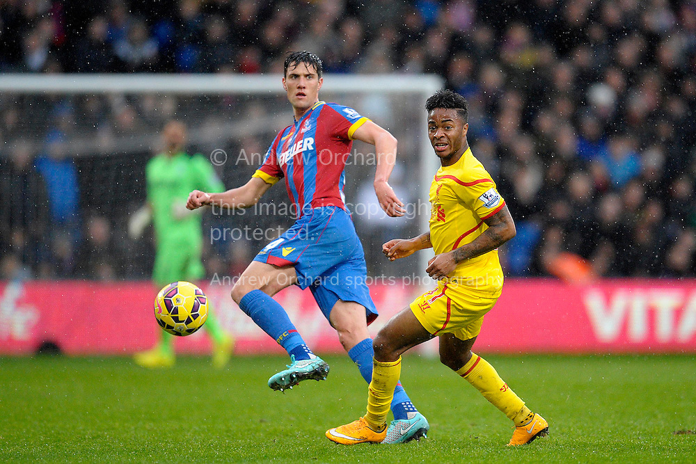 Martin Kelly of Crystal Palace and Raheem Sterling of Liverpool in action. Barclays Premier league match, Crystal Palace v Liverpool at Selhurst Park in London on Sunday 23rd November 2014.<br /> pic by John Patrick Fletcher, Andrew Orchard sports photography.