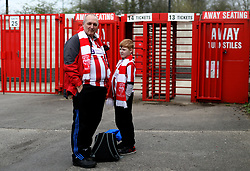 General view of Lincoln City fans arriving before the game during the Sky Bet League Two match at The People's Pension Stadium, Crawley.