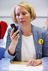 © Licensed to London News Pictures. 07/09/2015. London, UK. Emma Reynolds calling Labour Party members to ask them to vote for Labour Party leader candidate Liz Kendall and making sure they vote before the Thursday lunchtime deadline as the Labour leadership election enters the final 72 hours. Photo credit: Tolga Akmen/LNP