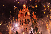 Sky rockets explode around the Parroquia San Miguel Archangel church during the Alborada festival in front of September 29, 2018 in San Miguel de Allende, Mexico. The unusual festival celebrates the cities patron saint with a two hour-long firework battle at 4am representing the struggle between Saint Michael and Lucifer.