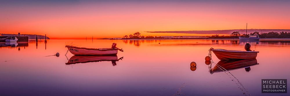 A tranquil dawn unfolds over American River on Kangaroo Island.<br /> <br /> Limited Edition Print; Edition of 125