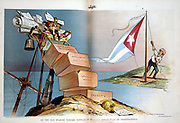Spanish-American War 1898. Spain lost her empire and United States became regional power in South America and the Caribbean. Cartoon showing Theodore Roosevelt hoisting Cuban flag below pennant marked 'Independence'.