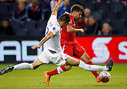 USA defender Mathew Miazga, left, pressures Canada forward Michael Petrasso, right, in the second half of a CONCACAF men's Olympic qualifying soccer match, Thursday, Oct. 1, 2015, in Kansas City, Kan. USA beat Canada 3-1.  (AP Photo/Colin E. Braley)