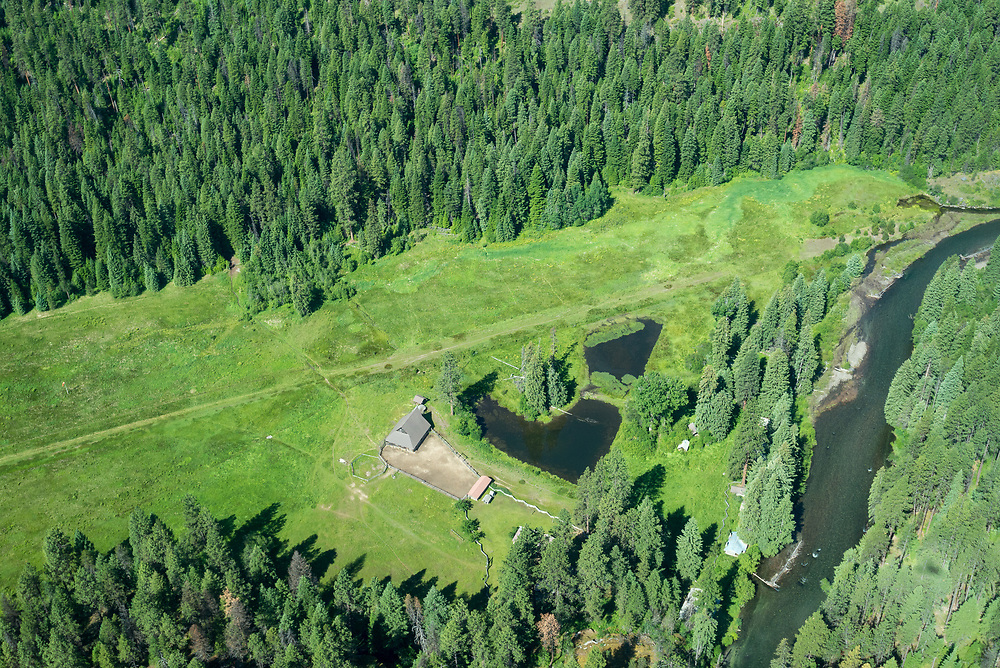 Aerial view of Reds Horse Ranch and the Minam River in Oregon's Wallowa Mountains.