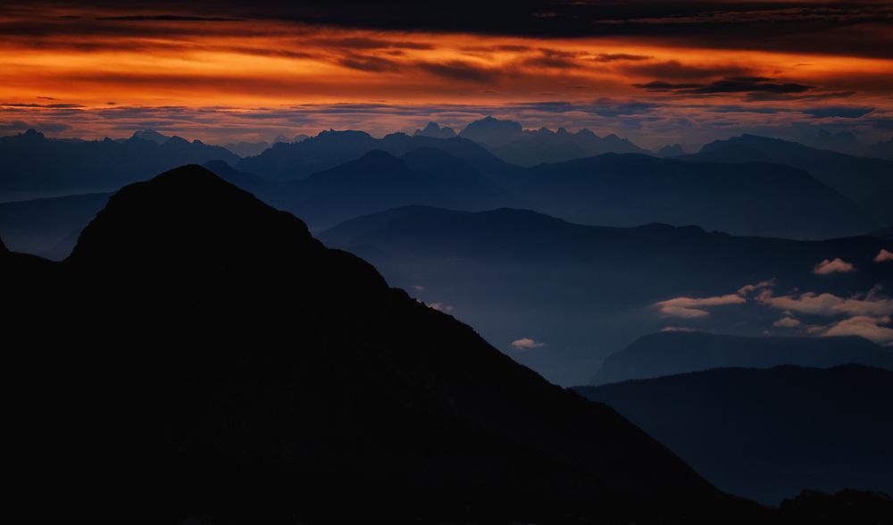 Sunrise view, Rifugio Pedrotti, Dolomites, Italy.