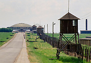 Guard posts at the fence at Majdanek Concentration Camp for holocaust victims, Poland