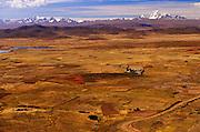 BOLIVIA, ALTIPLANO view across the 14,000 foot high altiplano toward the peaks of the Cordillera Real mountain range south of La Paz