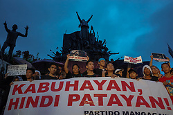 August 21, 2017 - Quezon, Manila, Philippines - Protesters hold placards and slogans during a rally against extrajudicial killings in Quezon City, east of Manila, Philippines on Monday, 21 August 2017. The death of Kian Delos Santos, who was killed by policemen in an alleged shootout, has sparked protests and condemnation from the public against alleged extrajudicial killings on drug users and pushers. (Credit Image: © Richard James Mendoza/NurPhoto via ZUMA Press)