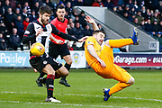 Ryan Flynn of St Mirren avoids the ball to the face during the Ladbrokes Scottish Premiership match between St Mirren and Livingston at the Simple Digital Arena, Paisley, Scotland on 2nd March 2019.