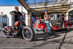 A custom shop in Liechtenstein? Reini Servello with his 1946 Knucklehead in front of his Bobber Garage custom motorcycle shop. This shop is the only custom shop in Liechtenstein! (fyi - there are just 38,547 citizens & this country covers just 62 sq mi tucked in between Switzerland and Austria.) The shop is in the the biggest city, Vaduz, at the foot of the mountain and as Reini likes to say, just below where the Boss Man lives (the prince in his castle!) Monday, February 25, 2019. Photography ©2019 Michael Lichter.