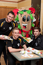 """Staff at the Centertainment branch of Subway  and Sheffield Steelers Ben Simon with Subman and one of the """"Healthier Way"""" range of Subs.26  October 2010 Images © Paul David Drabble"""