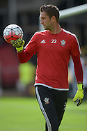 Goalkeeper Maarten Stekelenburg of Southampton during pre-match warm up. Barclays Premier League, Watford v Southampton at Vicarage Road in London on Sunday 23rd August 2015.<br /> pic by John Patrick Fletcher, Andrew Orchard sports photography.