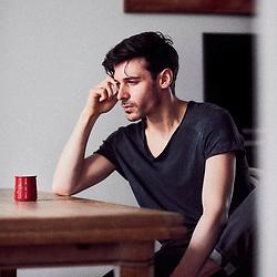 Parker Marx, an adult performer in the independent porn industry, drinking coffee in an apartment in Paris, France. December 6, 2017.<br /> Parker Marx, acteur dans le milieu du film pornographique independant, boit un cafe dans un appartement a Paris, France. 6 december 2017.