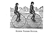 Two men ride a Rucker Tandem bicycle From Wheels and Wheeling; An indispensable handbook for cyclists, with over two hundred illustrations by Porter, Luther Henry. Published in Boston in  1892
