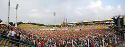 Music Fans begin to fill the Don Valley Stadium in Sheffield for the Red Hot Chilli Peppers concert on the 6 July 2006. Part of the Bands Stadium Arcadium World Tour 2006/2007<br /> 6th July 2006<br /> Copyright Paul David Drabble