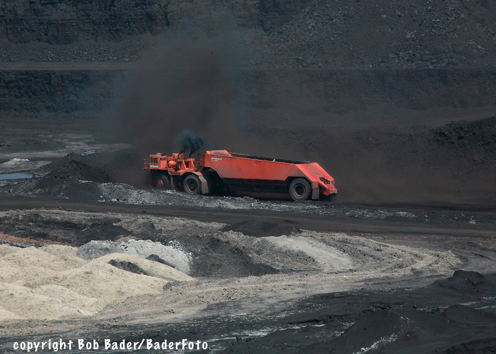 Giant coal mining drag loader in open pit mine near Gillette, Wyoming