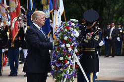 May 29, 2017 - Arlington, Virginia, United States of America - United States President Donald J. Trump participates in a wreath-laying ceremony at the Tomb of the Unknown Soldier at Arlington National Cemetery in Arlington, Virginia on Memorial Day, May 29, 2017 in Arlington, Virginia..Credit: Olivier Douliery / Pool via CNP (Credit Image: © Olivier Douliery/CNP via ZUMA Wire)