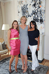 Left to right, MARIA HATZISTEFANIS, SANTA SEBAG-MONTEFIORE and JACKIE ST.CLAIR at a party hosted by Maria Hatzistefanis to celebrate the publication of Santa Montefiore's new book 'The Affair' held at 35 Walpole Road, London on 27th April 2010.