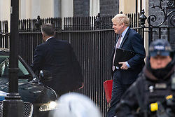 © Licensed to London News Pictures. 11/02/2020. London, UK. British Prime Minister Boris Johnson Downing Street leaves Downing Street to make an announcement on the high speed rail line 'HS2' later today.  Photo credit : Tom Nicholson/LNP