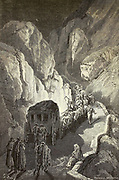 Le Puerto de Arenas (Route de Grenade a Jaen) [Puerto de Arenas (Route from Granada to Jaen)] Page illustration from the book 'L'Espagne' [Spain] by Davillier, Jean Charles, barón, 1823-1883; Doré, Gustave, 1832-1883; Published in Paris, France by Libreria Hachette, in 1874