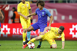 (l-r) Nathan Ake of Holland, Alexandru Chipciu of Romania during the friendly match between Romania and The Netherlands on November 14, 2017 at Arena National in Bucharest, Romania