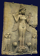 The 'Queen of the Night' relief reconstruction 'restored'.   Old Babylonian, 1800-1750 BC.  From southern Iraq.