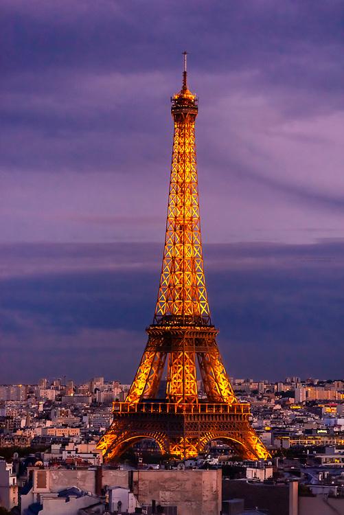 Eiffel Tower at sunset, Paris, France.