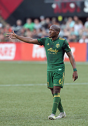 June 25, 2017. Portland Timbers midfielder Darlington Nagbe (6) directs movement on the pitch during the MLS match between the visiting Seattle Sounders and the Portland Timbers at Providence Park, Portland, OR. Larry C. Lawson/CSM(Credit Image: © Larry C. Lawson/CSM via ZUMA Wire)