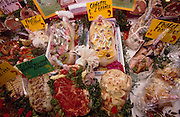 Europe, France, Paris. Agricultural exhibition. Butchers cabinet. 2002.'MEAT' across the World..foto © Nigel Dickinson