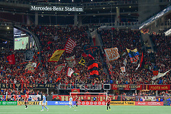 November 11, 2018 - Atlanta, GA, U.S. - ATLANTA, GA Ð NOVEMBER 11:  Atlanta United fans wave flags during the MLS Eastern Conference semifinal match between Atlanta United and NYCFC on November 11th, 2018 at Mercedes-Benz Stadium in Atlanta, GA.  Atlanta United FC defeated New York City FC by a score of 3 to 1 to advance in the playoffs.  (Photo by Rich von Biberstein/Icon Sportswire) (Credit Image: © Rich Von Biberstein/Icon SMI via ZUMA Press)
