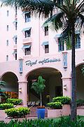 The entrance of the Royal Hawaiian Hotel in Waikiki, Hawaii.