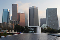 LADWP Water Fountain and Downtown Skyline, Los Angeles, California