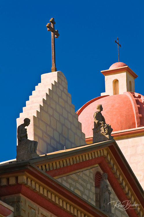 Crosses and bell tower at the Santa Barbara Mission (Queen of the missions), Santa Barbara, California