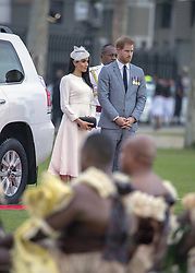 AU_1378076 - SUVA, FRENCH POYNESIA  - Prince Harry and Meghan Markle attend an official ceremony in Suva, Fiji.<br /> <br /> Pictured: Prince Harry and Meghan Markle<br /> <br /> BACKGRID Australia 22 OCTOBER 2018 <br /> <br /> Phone: + 61 2 8719 0598<br /> Email:  photos@backgrid.com.au