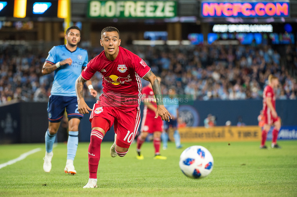 July 8, 2018 - Bronx, New York, United States - New York Red Bulls midfielder ALEJANDRO ROMERO GAMARRA (10) chases down a ball during a regular season match at Yankee Stadium in Bronx, NY.  New York City FC defeats the New York Red Bulls 1 to 0 (Credit Image: © Mark Smith via ZUMA Wire)
