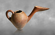Bronze Age Anatolian terra cotta side spouted pitcher with bill shaped end - 19th to 17th century BC - Kültepe Kanesh - Museum of Anatolian Civilisations, Ankara, Turkey. .<br /> <br /> If you prefer to buy from our ALAMY PHOTO LIBRARY  Collection visit : https://www.alamy.com/portfolio/paul-williams-funkystock/kultepe-kanesh-pottery.html<br /> <br /> Visit our ANCIENT WORLD PHOTO COLLECTIONS for more photos to download or buy as wall art prints https://funkystock.photoshelter.com/gallery-collection/Ancient-World-Art-Antiquities-Historic-Sites-Pictures-Images-of/C00006u26yqSkDOM