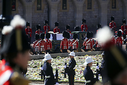 The Land Rover Defender carrying the coffin of the Duke of Edinburgh arrives at the Galilee Porch of St George's Chapel, at Windsor Castle, Berkshire, during his funeral. Picture date: Saturday April 17, 2021.