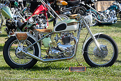 BF11 Invited Builder David Morales 1957 Triumph Firebird custom in the Invited Builders corral at the end of the day at the Born Free Motorcycle Show (BF11) at Oak Canyon Ranch, Silverado  CA, USA. Saturday, June 22, 2019. Photography ©2019 Michael Lichter.