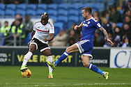 Neeskens Kebano of Fulham (l) tries to take the ball past Joe Ralls of Cardiff city. EFL Skybet championship match, Cardiff city v Fulham at the Cardiff city stadium in Cardiff, South Wales on Saturday 25th February 2017.<br /> pic by Andrew Orchard, Andrew Orchard sports photography.