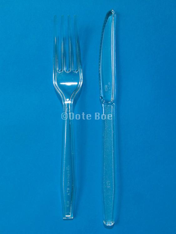 transparent plastic fork and knife