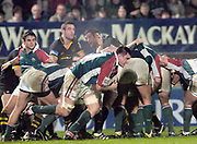 Wycombe. GREAT BRITAIN, 5th December 2004. Heineken Cup Rugby  London Wasps and Leicester Tigers,  Adams Park, ENGLAND, [Mandatory Credit; Peter Spurrier/Intersport-images].<br /> <br /> Martin corry peels of the back of the scrum.